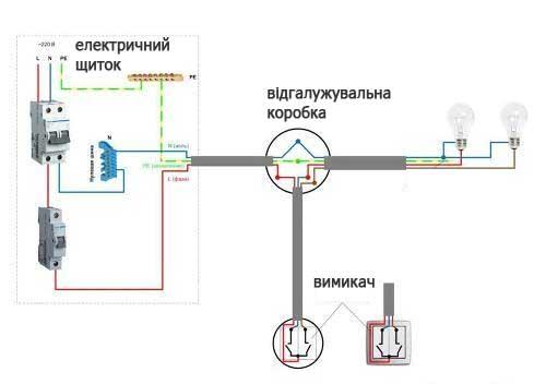 схема підключення вимикача двоклавішного