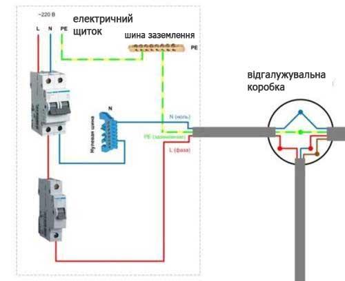 схема підключення вимикача