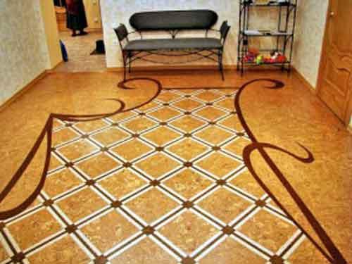 на фото коркова підлога або підлога з пробки
