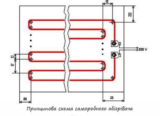 саморобний обігрівач. принципова схема