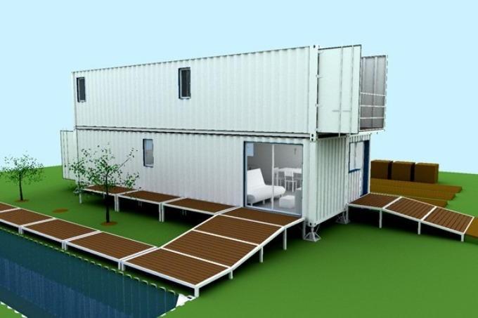 Двоповерховий варіант дачного будинку з контейнерів